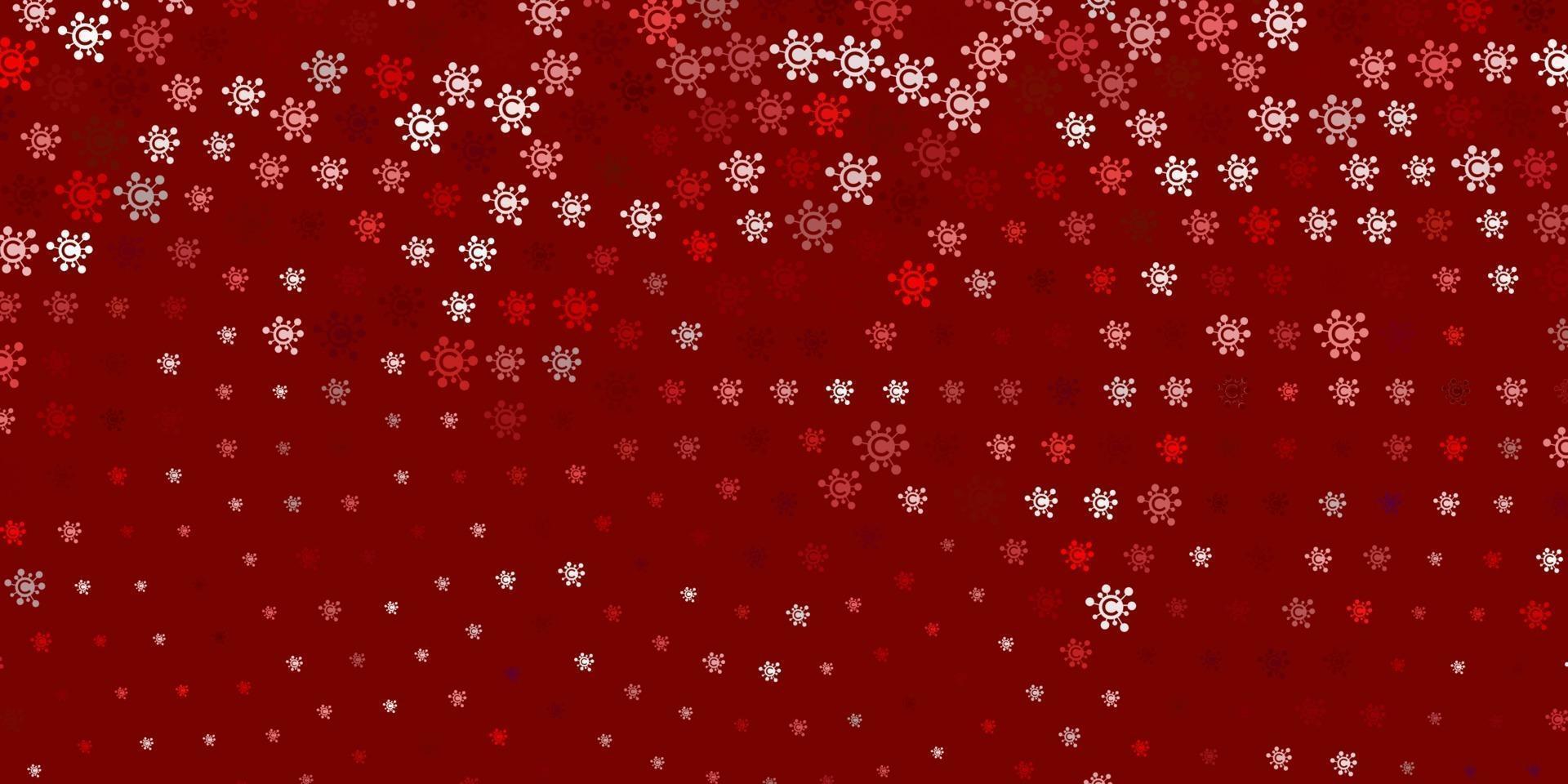 Telón de fondo de vector rojo claro con símbolos de virus.