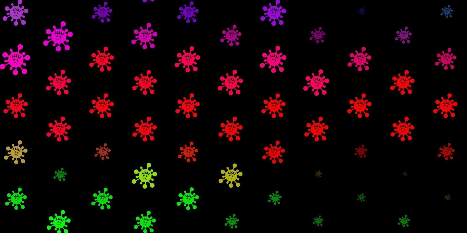 Dark pink, green vector backdrop with virus symbols.