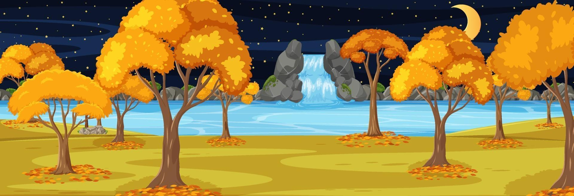 parque en temporada de otoño escena horizontal por la noche vector
