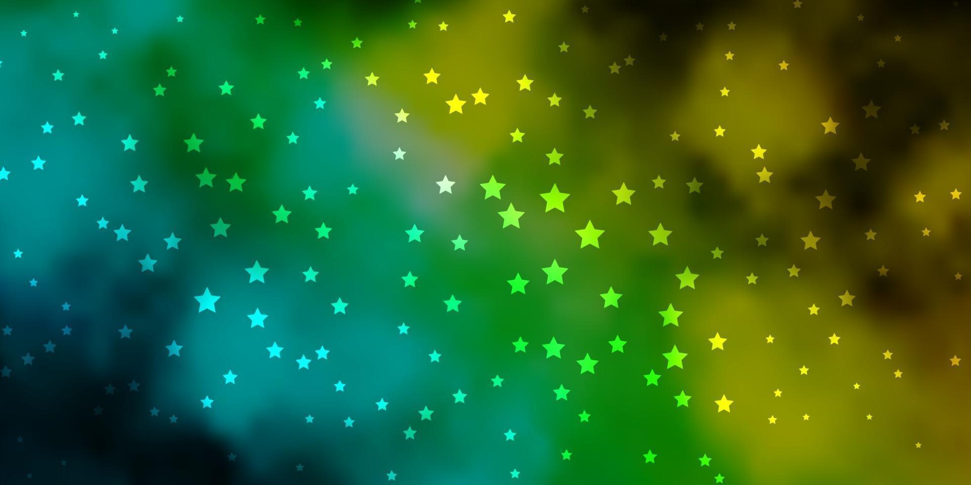 Fondo de vector azul oscuro, verde con estrellas de colores.