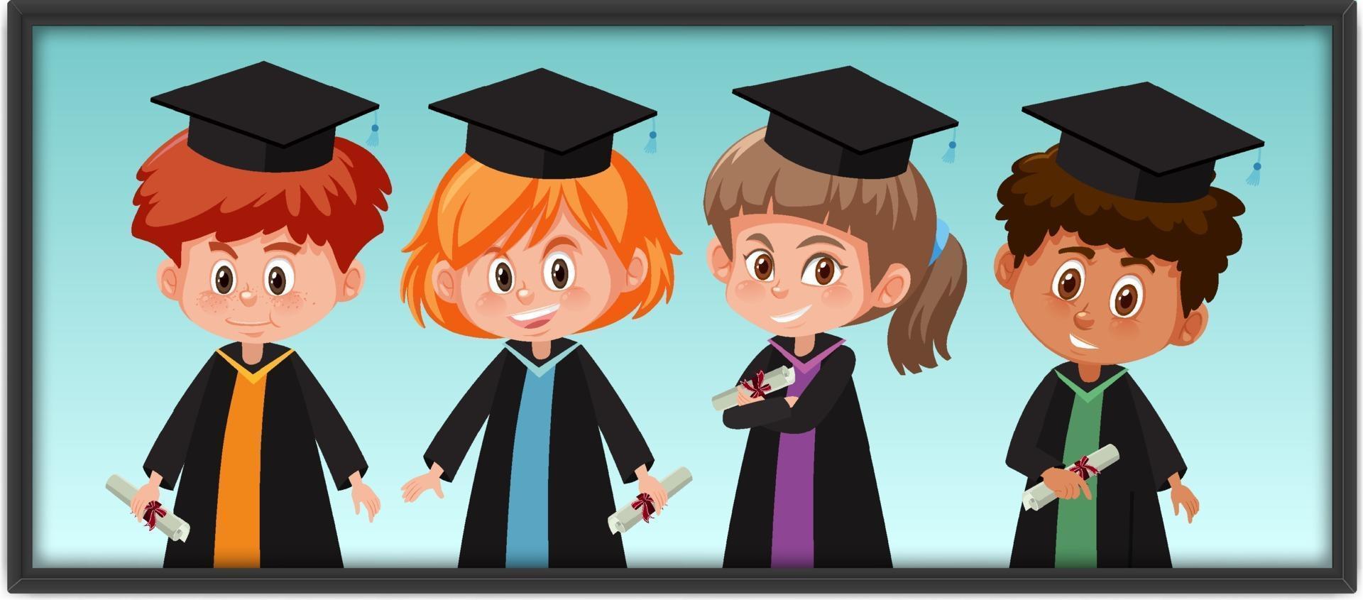 muchos niños disfrazados de graduación en marco de fotos vector