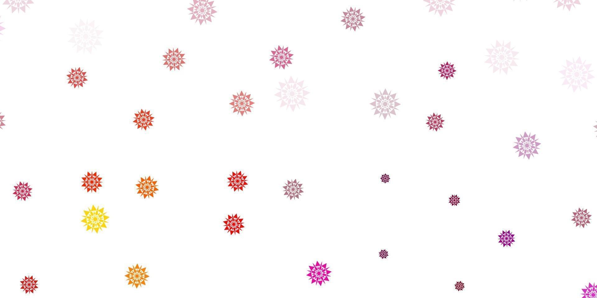 textura de vector de color rosa claro, amarillo con copos de nieve brillantes.