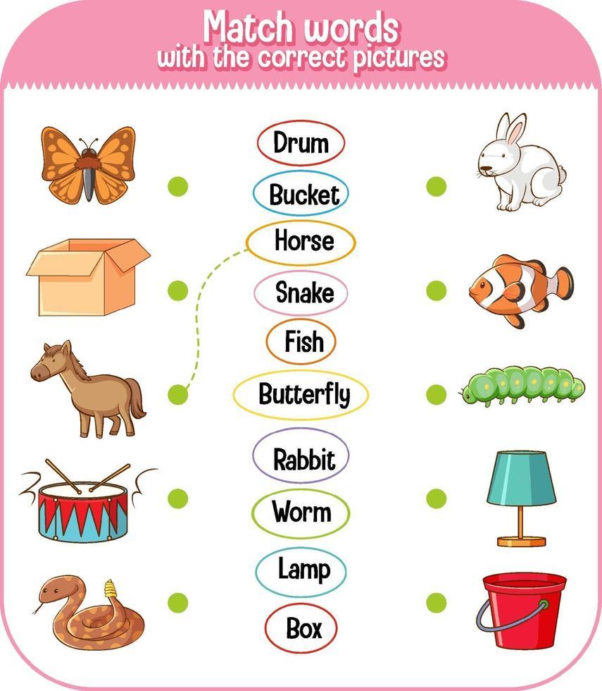 unir palabras con el juego de imágenes correcto para niños vector