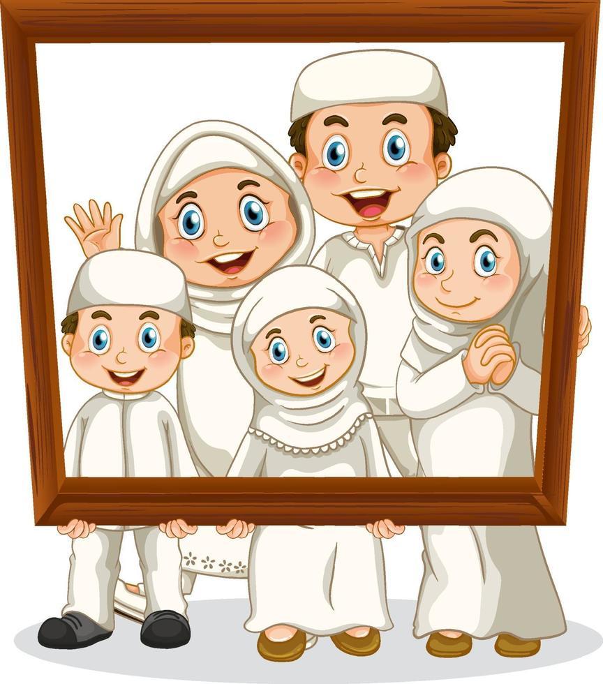 miembro de la familia feliz con marco de fotos vector