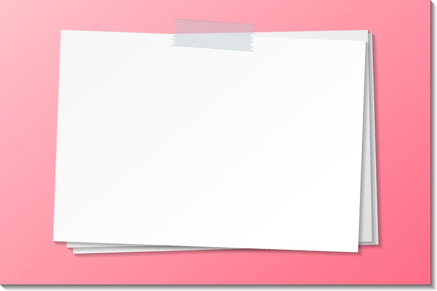 Plantilla de nota de papel vacía con cinta adhesiva vector