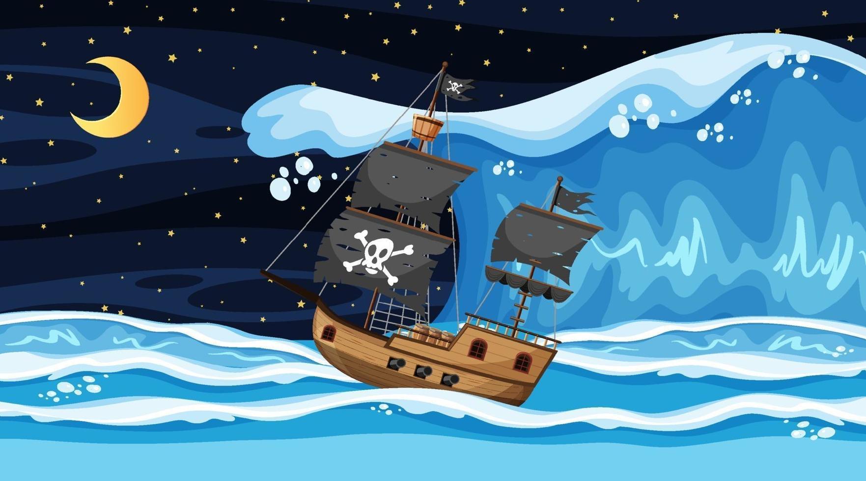 océano con barco pirata en la escena nocturna en estilo de dibujos animados vector