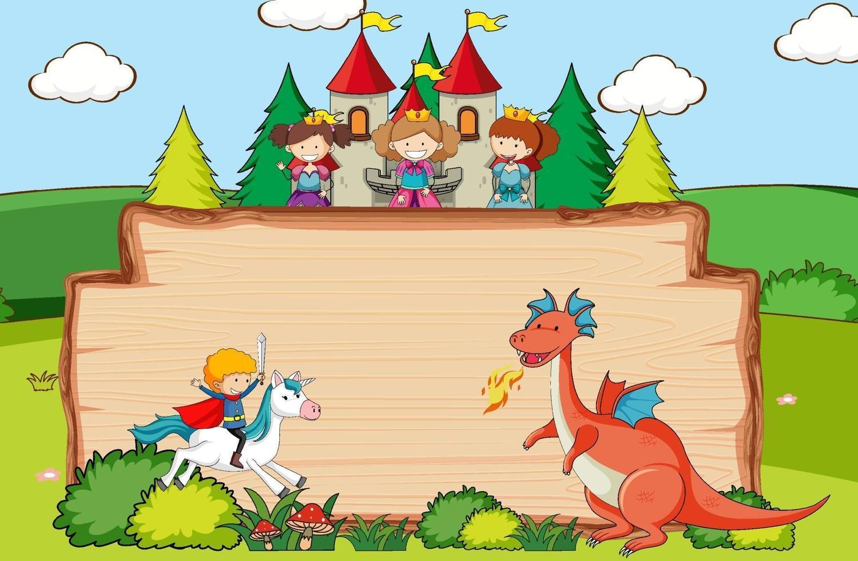 Pancarta de madera vacía en la escena del bosque con personajes y elementos de dibujos animados de cuento de hadas vector