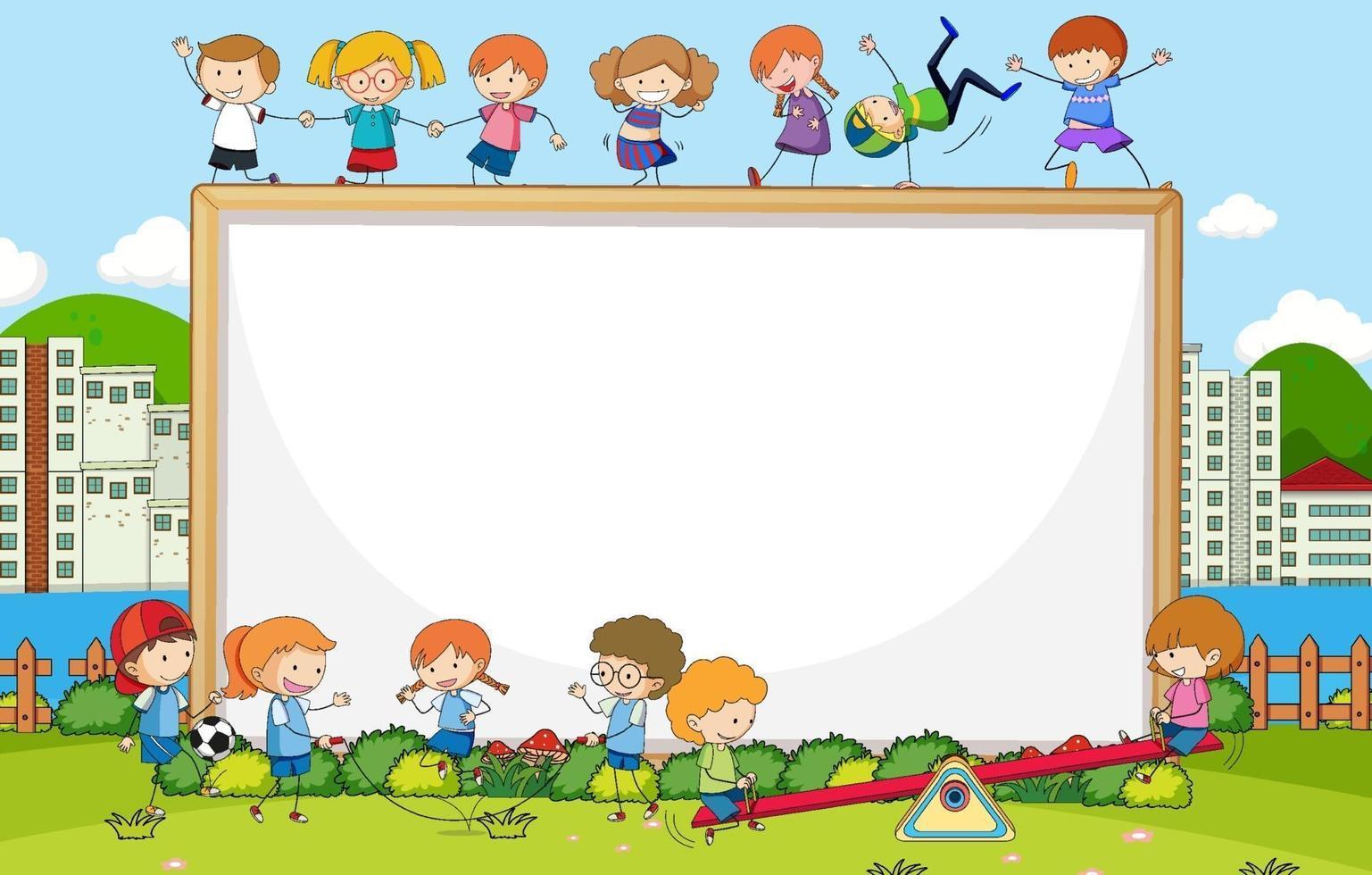 Escena del parque con pancarta en blanco y muchos niños doodle personaje de dibujos animados vector