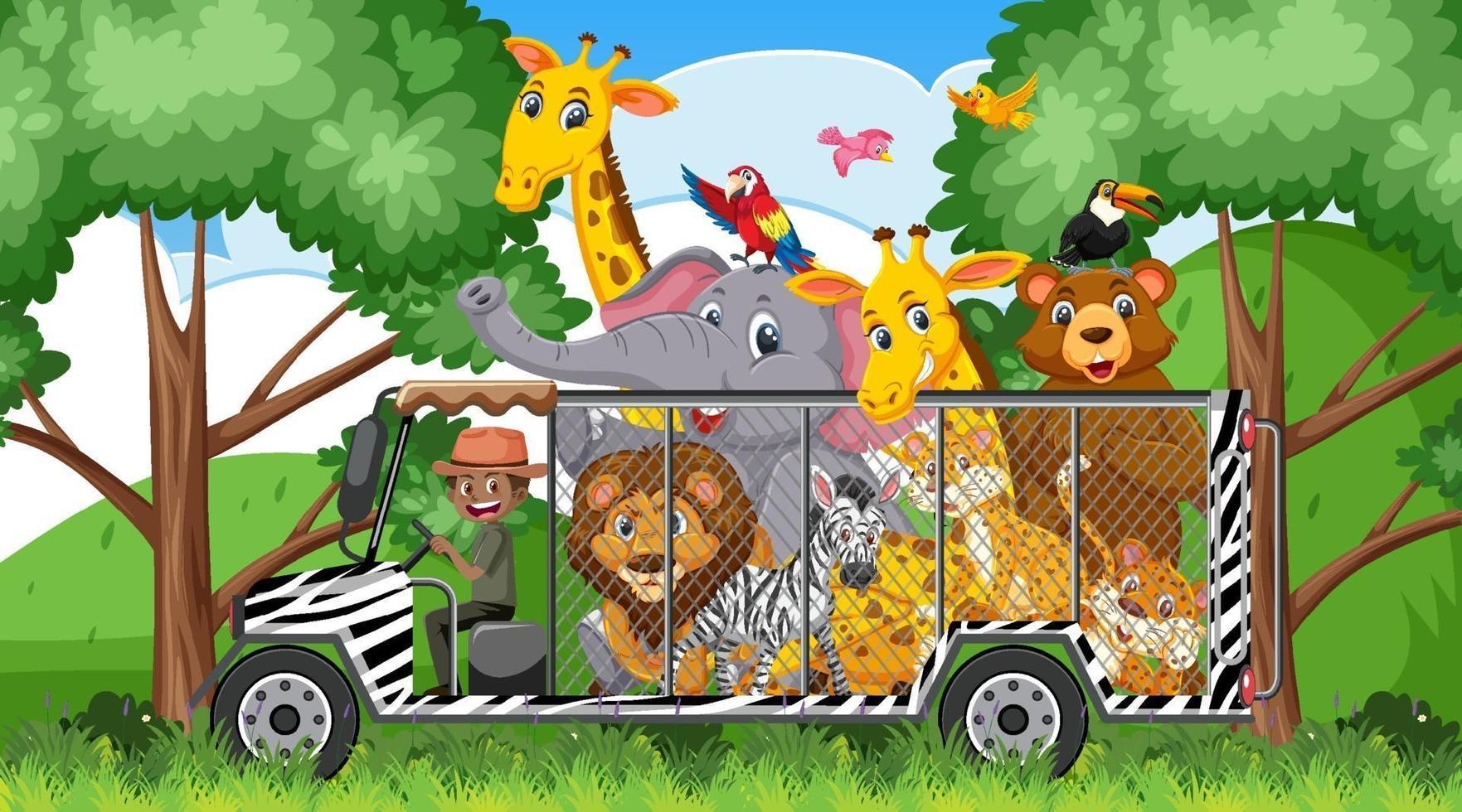 Escena de safari con animales salvajes en el coche de la jaula. vector