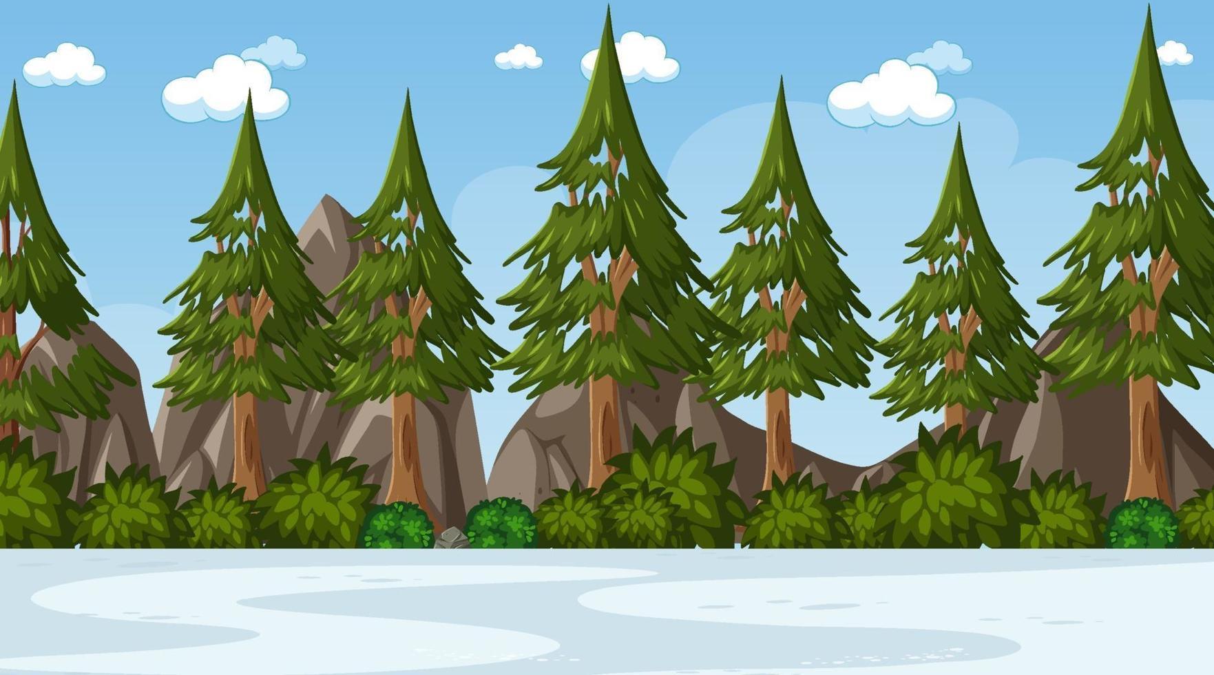escena del paisaje del parque natural vacío vector