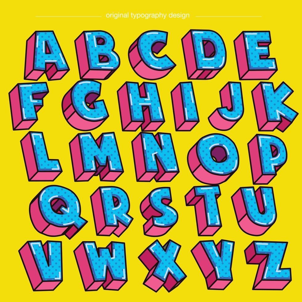 tipografía de dibujos animados punteados 3d azul y rosa vector