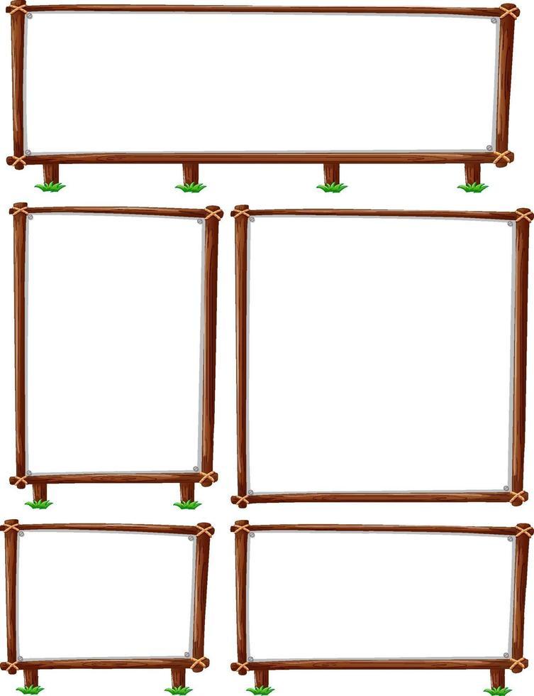 Conjunto de marco de madera vacío aislado sobre fondo blanco. vector