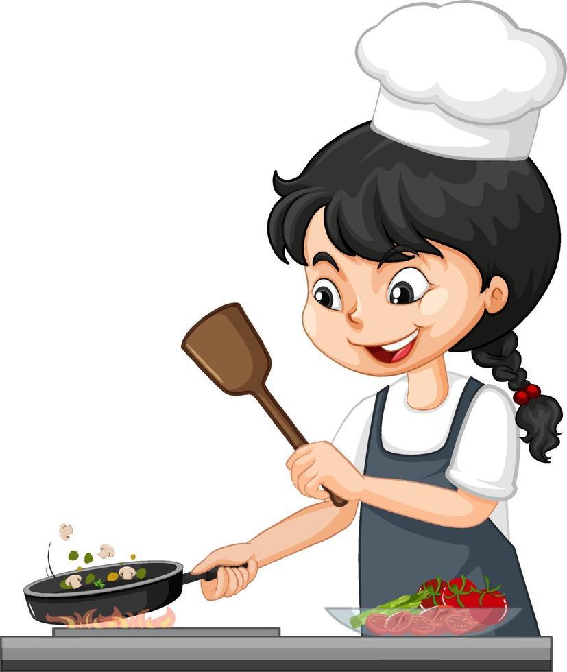 personaje de niña linda con gorro de chef cocinando comida vector