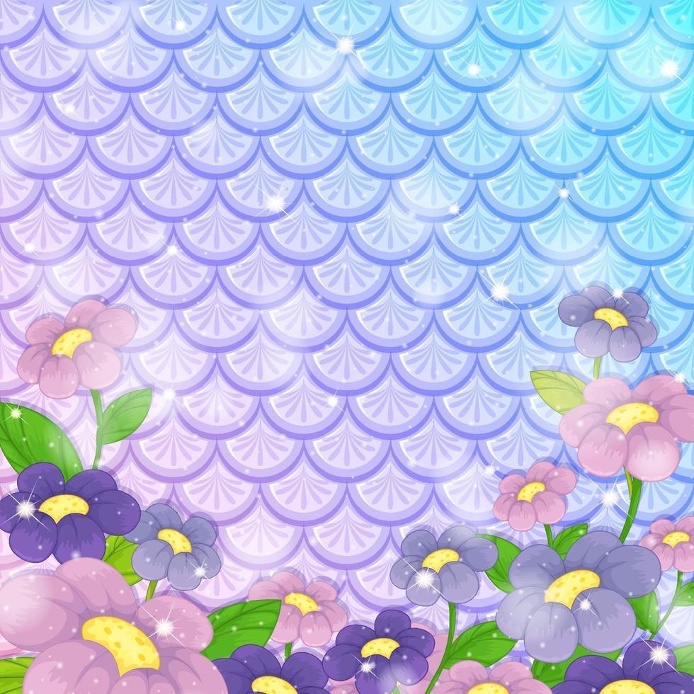 Fondo de escamas de pescado de fantasía con muchas flores. vector