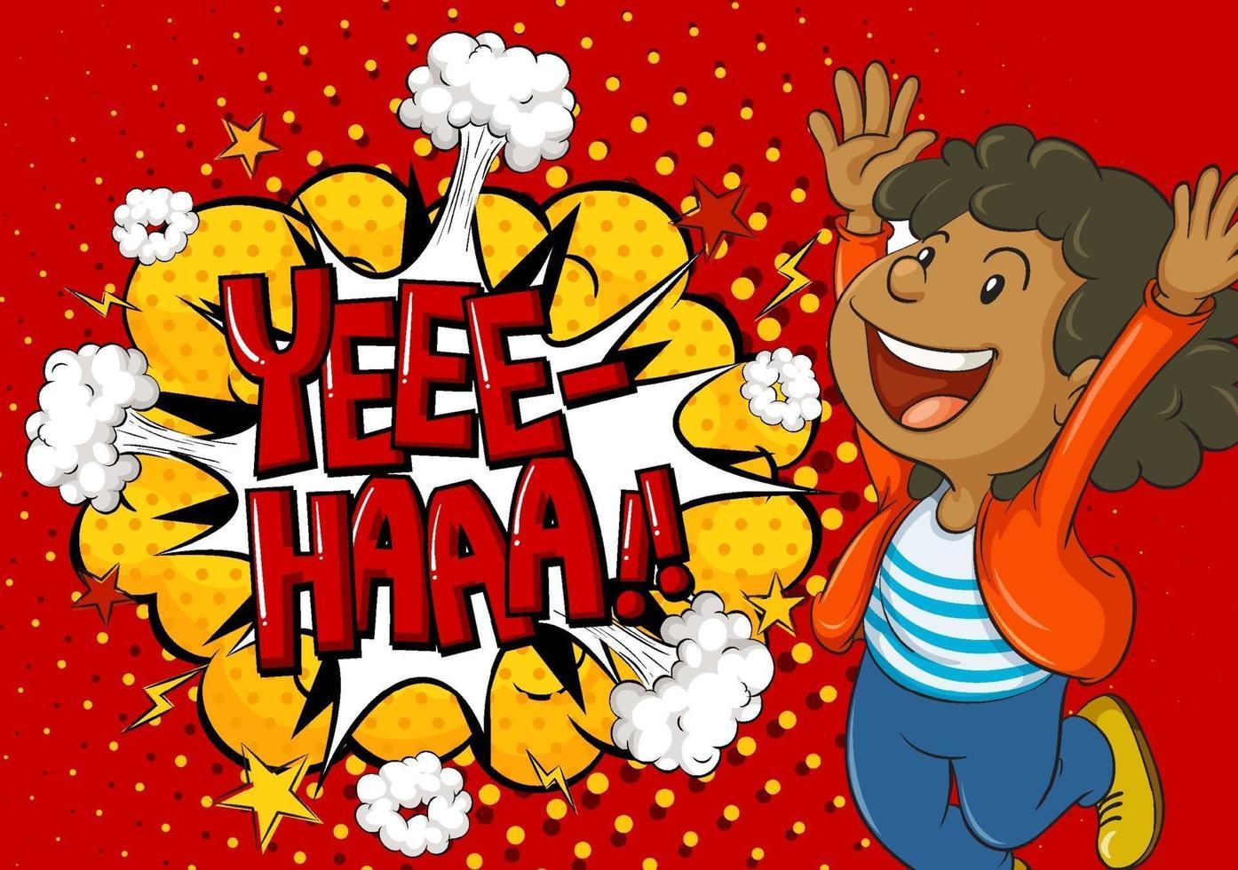 yeee haa palabra sobre fondo de explosión con personaje de dibujos animados de niño vector