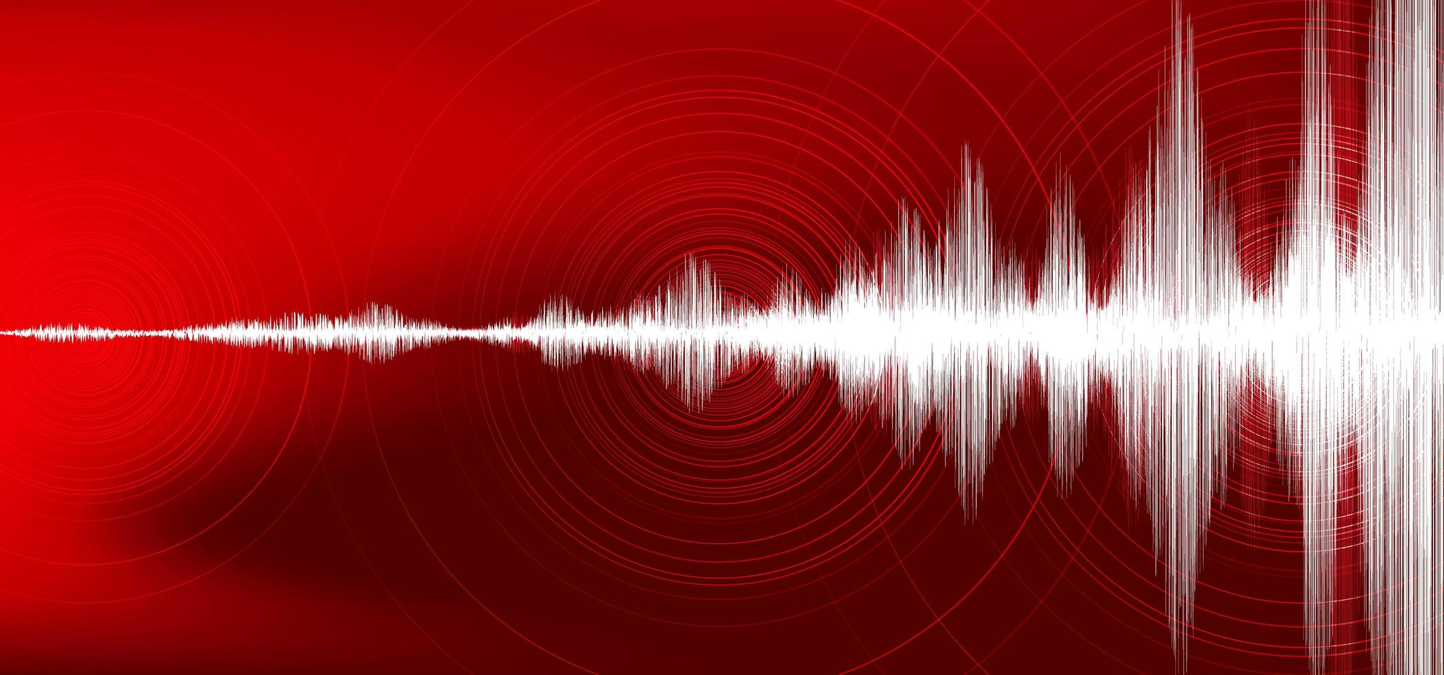 Digital Earthquake Wave with Circle Vibration on Dark Red background,audio wave diagram concept,design for education and science,Vector Illustration. vector