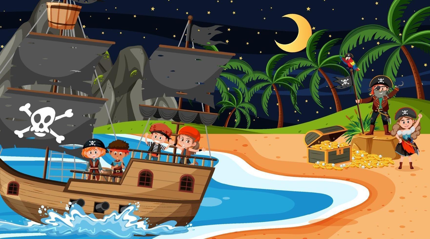 escena de la isla del tesoro en la noche con niños piratas en el barco vector