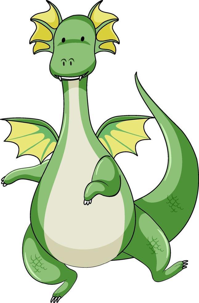 personaje de dibujos animados simple de dragón verde aislado vector
