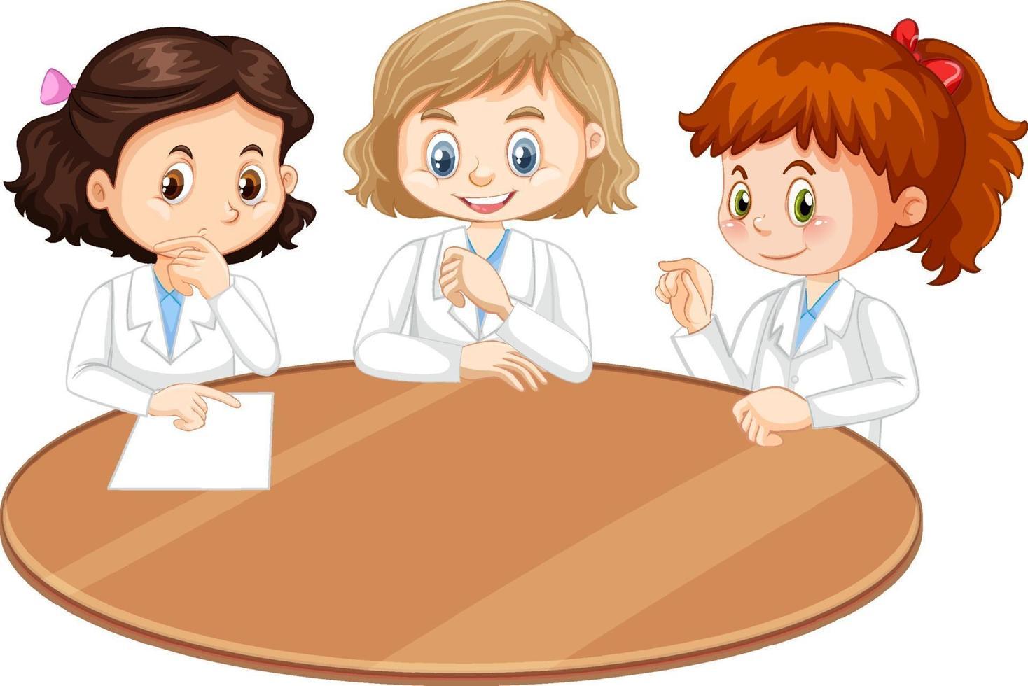 personaje de dibujos animados de tres niñas científicas con mesa en blanco vector