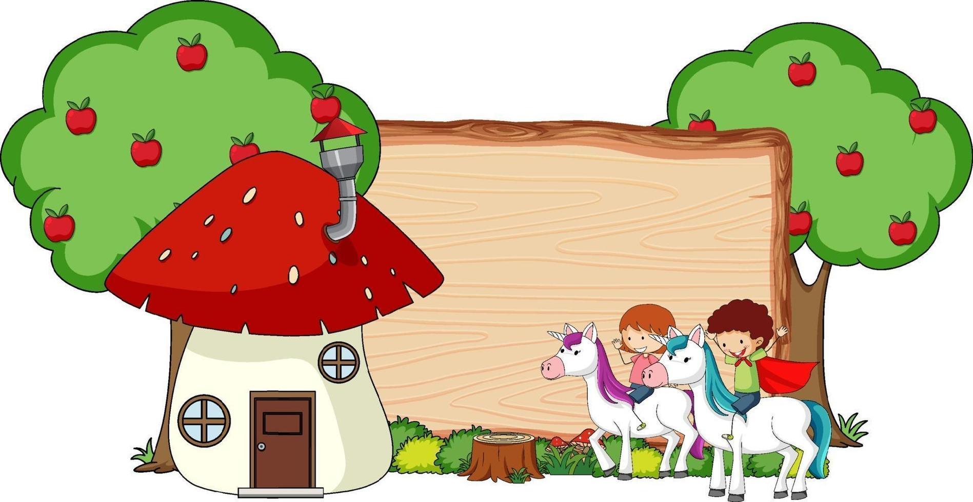 Banner de madera en blanco con personaje de dibujos animados de fantasía aislado vector