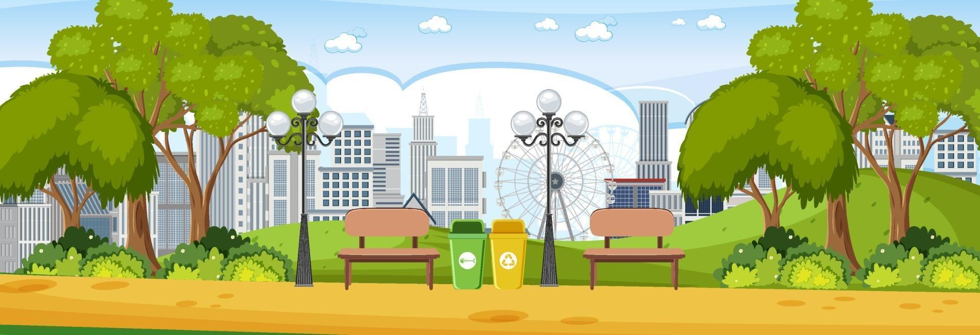 Park horizontal scene at day time with cityscape background vector