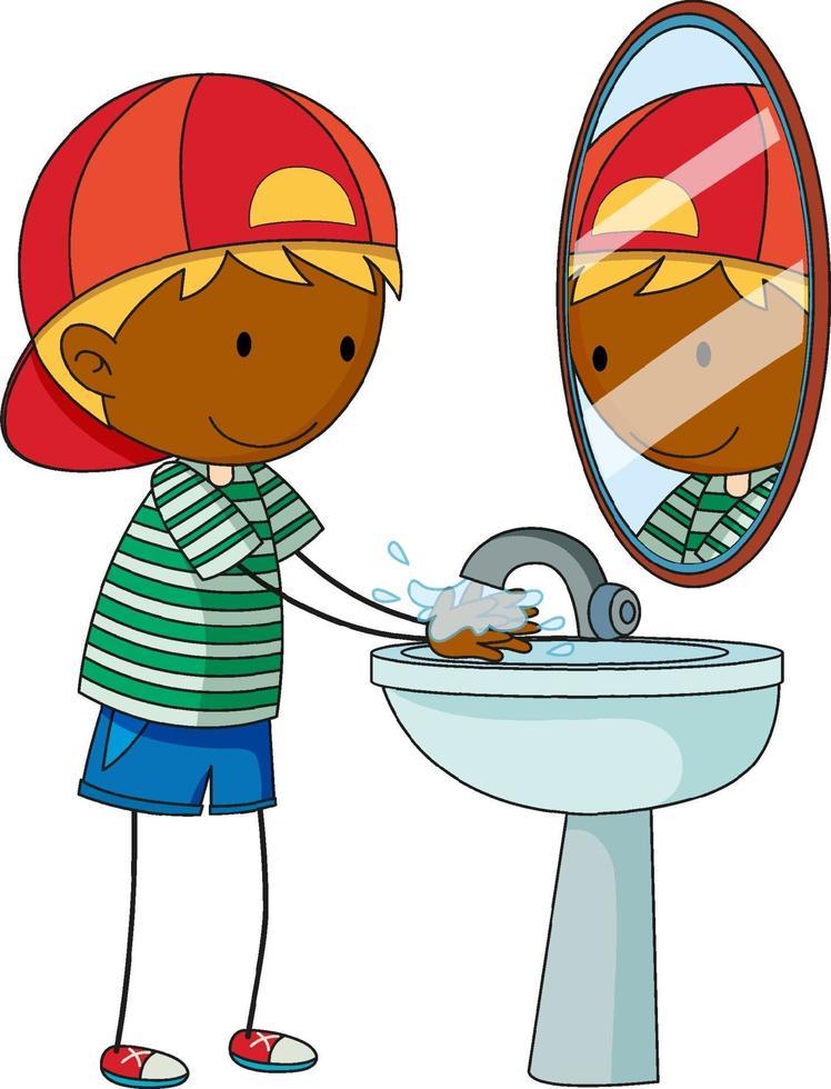 un niño del doodle que se lava el personaje de dibujos animados de la mano aislado vector