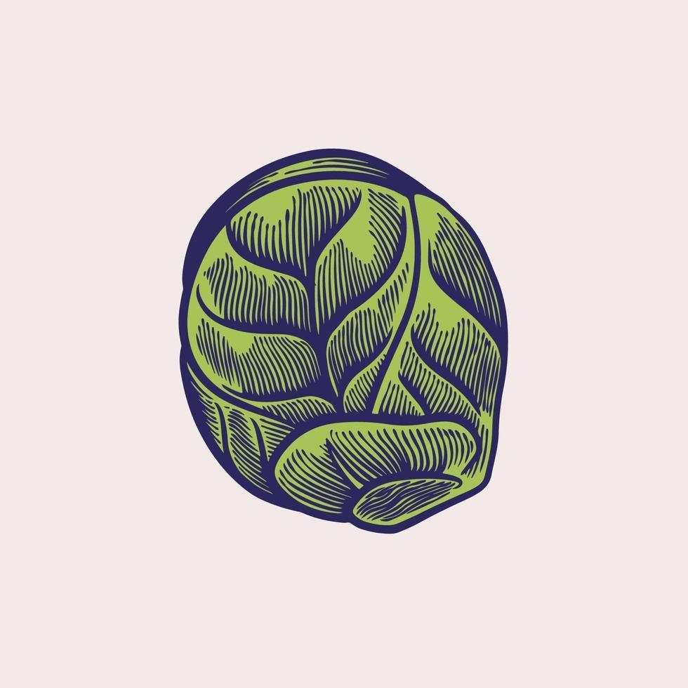 boceto dibujado a mano de lechuga verde romain. Ingrediente de hojas frescas para ensalada en estilo vintage grabado. concepto de alimentos orgánicos. Ilustración de vector de comida vegetariana orgánica saludable