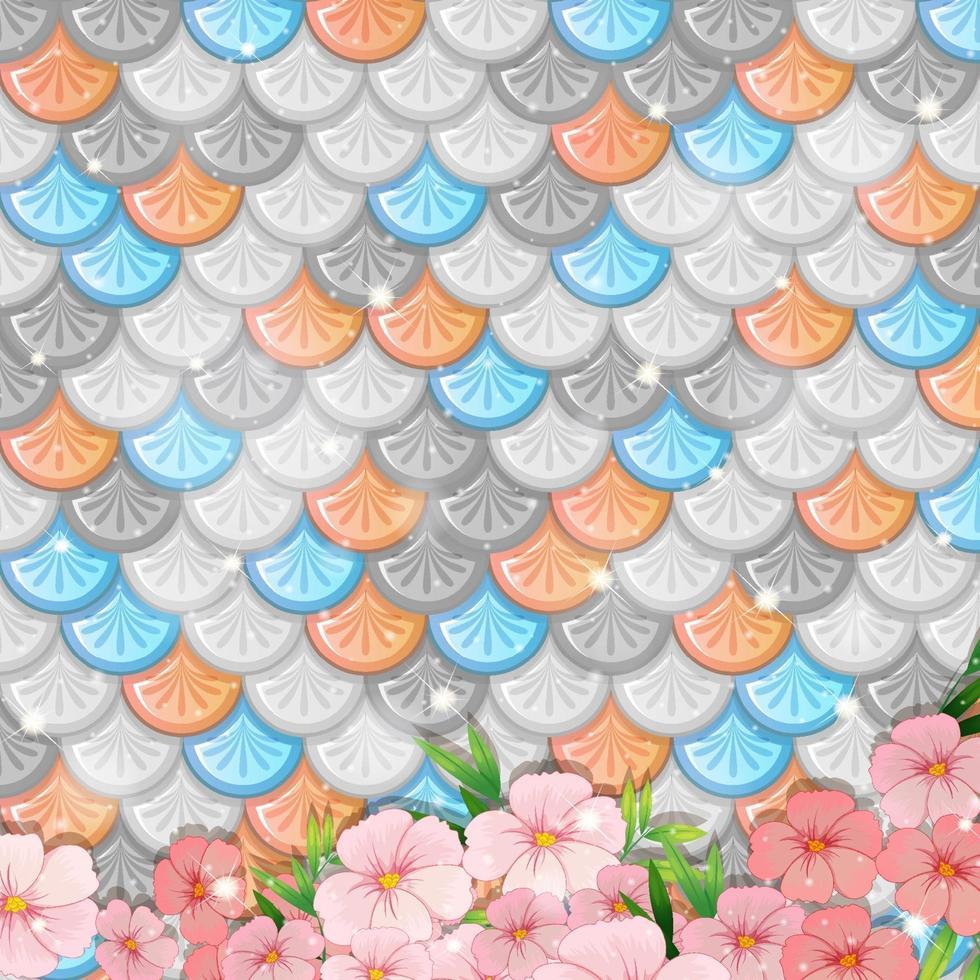 Fondo de escamas de pescado pastel con muchas flores. vector
