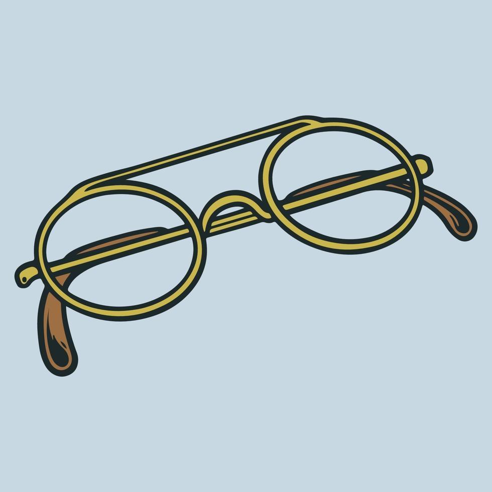 Ilustración de vector de gafas dibujadas a mano. estilo retro hipster. vidrios masculinos y femeninos aislados boceto de grabado vintage de moda. anteojos viejos de carretera. concepto de plantilla de icono de logotipo de tienda óptica