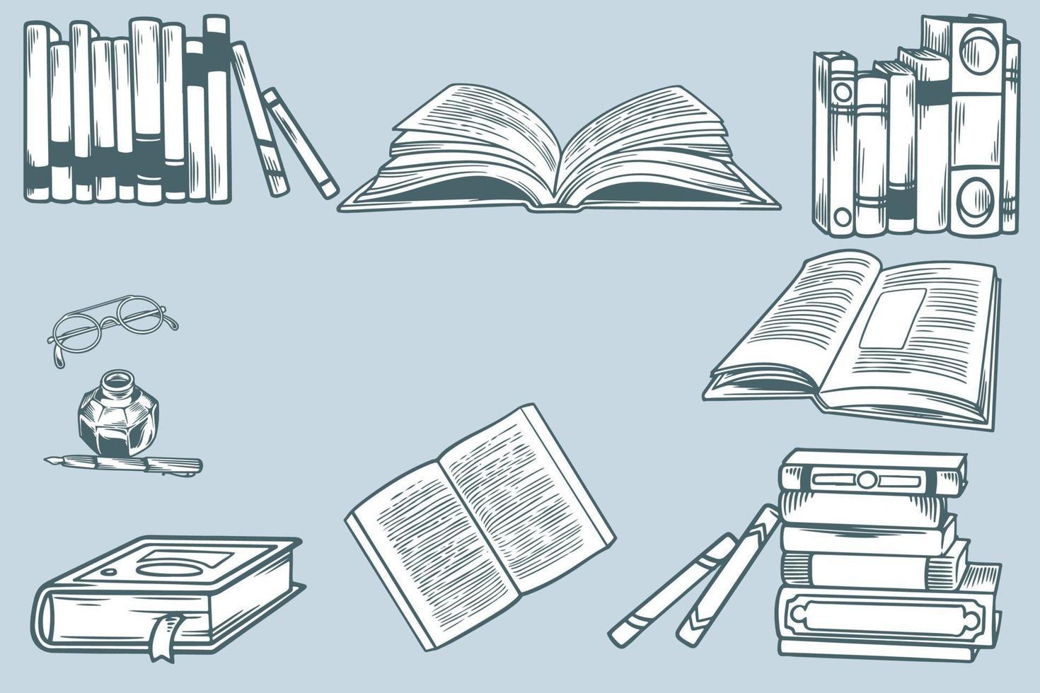 boceto dibujado a mano sobre el tema de la literatura. conjunto de pilas de libros en papel, biblioteca en casa, estantería y bolígrafo con tinta. escuela de elementos de doodle. concepto de educación, tiempo de libro. dibujo de grabado vectorial vector