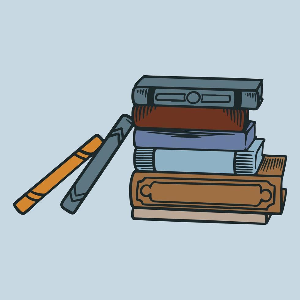 pila de libros dibujados a mano. boceto retro grabado libros de colores. elementos de biblioteca y librería, pila de libros antiguos vector vintage grabado diccionario bosquejado o conjunto de revistas