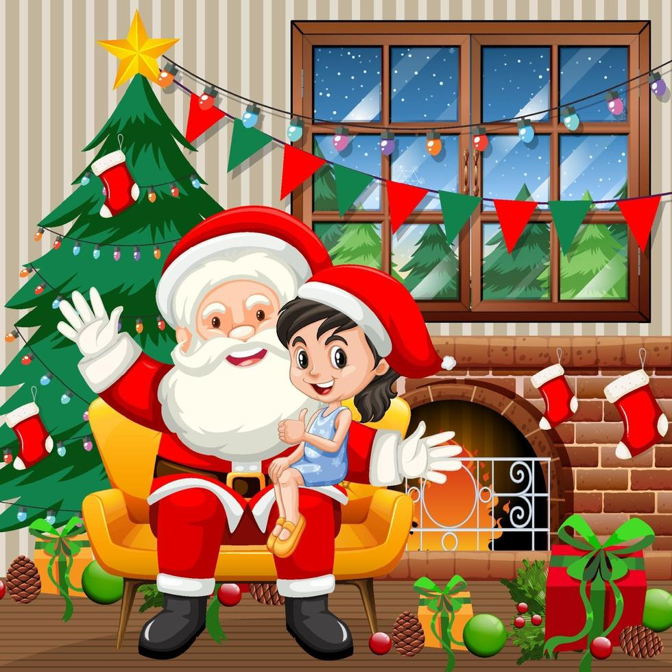 Santa Claus sitting on his lap with cute girl at home scene vector
