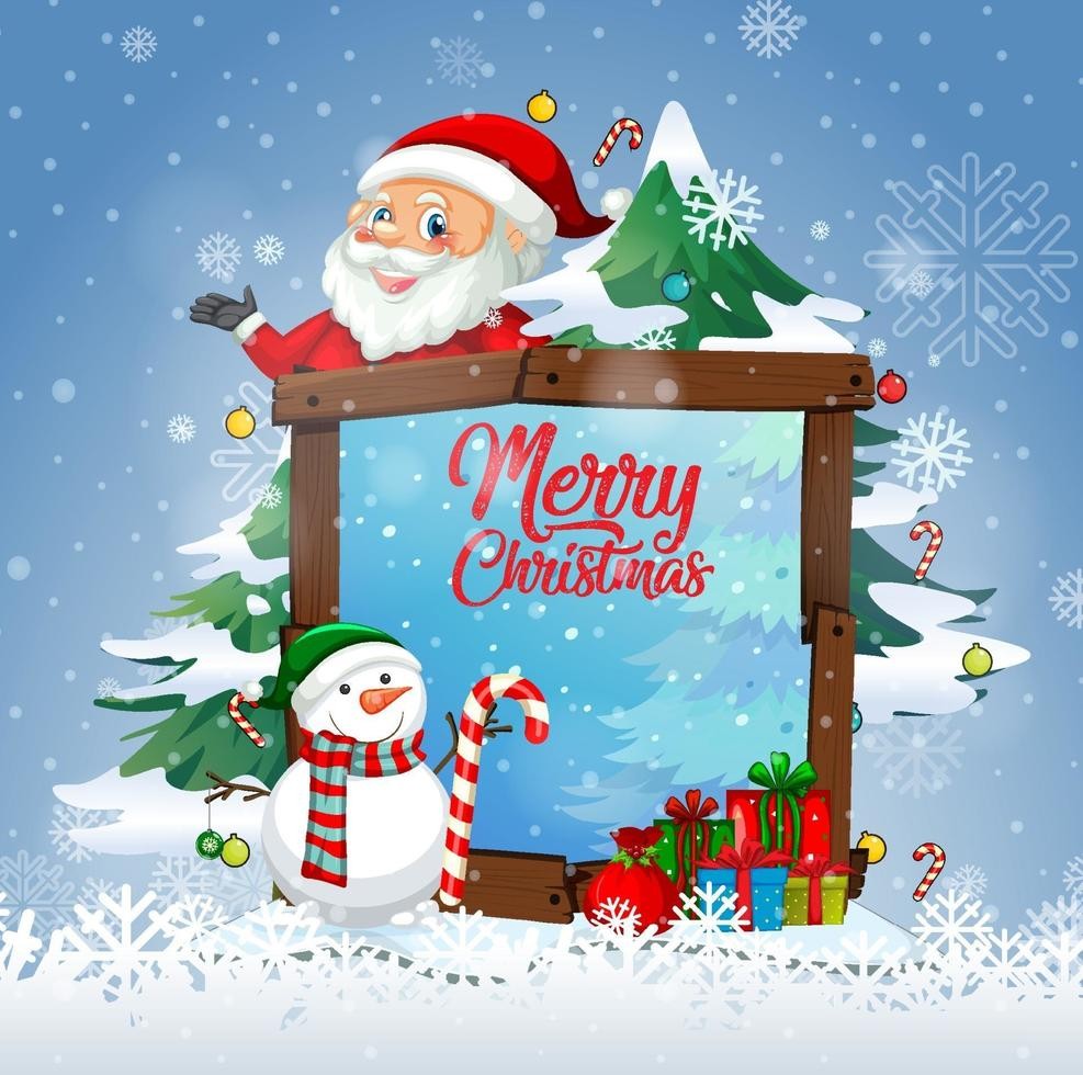 Merry Christmas font with Santa Claus in Christmas theme vector