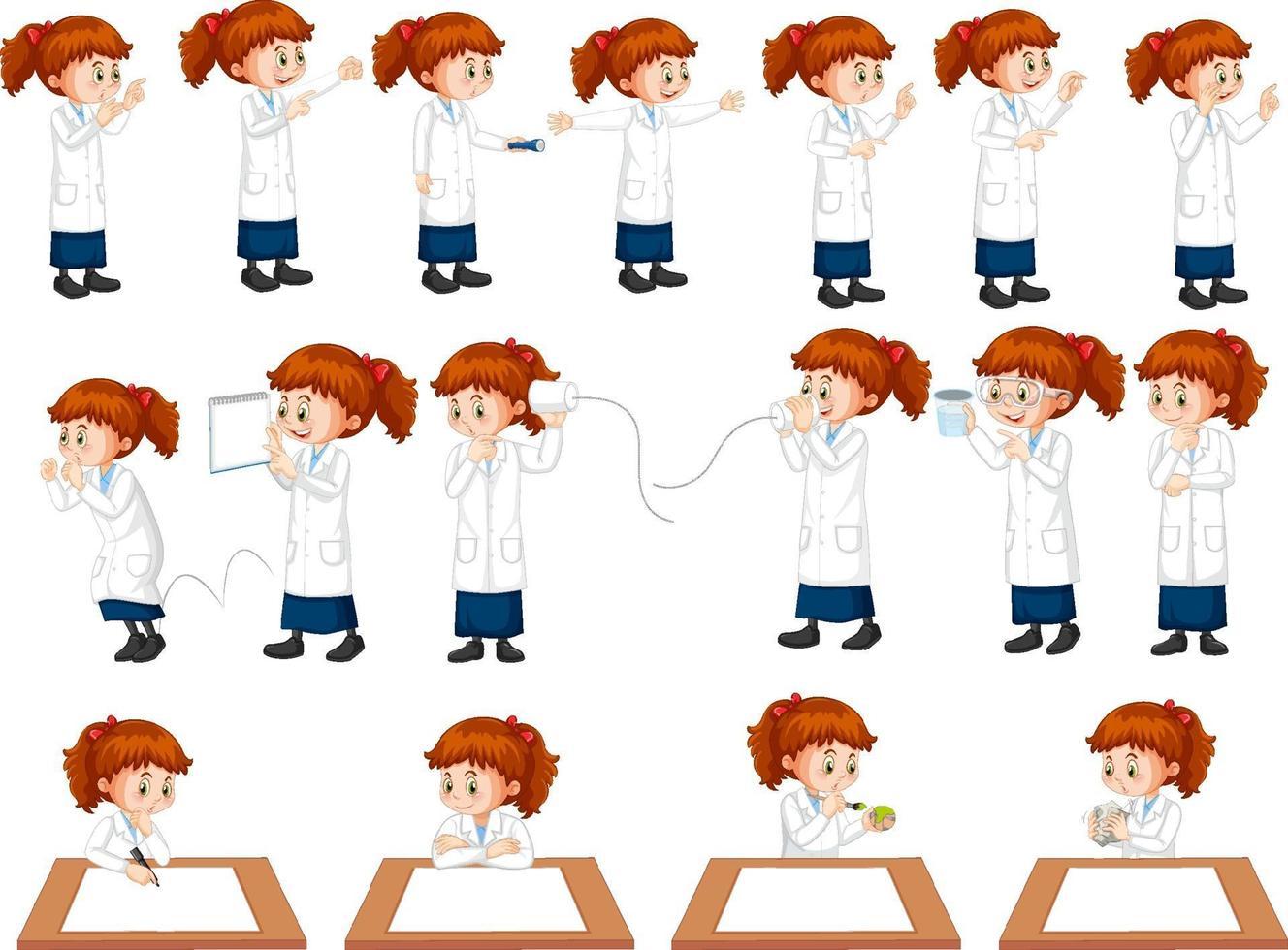 conjunto de una niña científica haciendo diferentes experimentos. vector