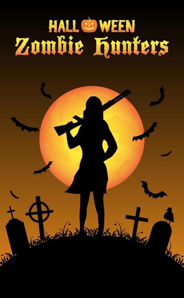 halloween zombie hunter with shotgun at graveyard vector