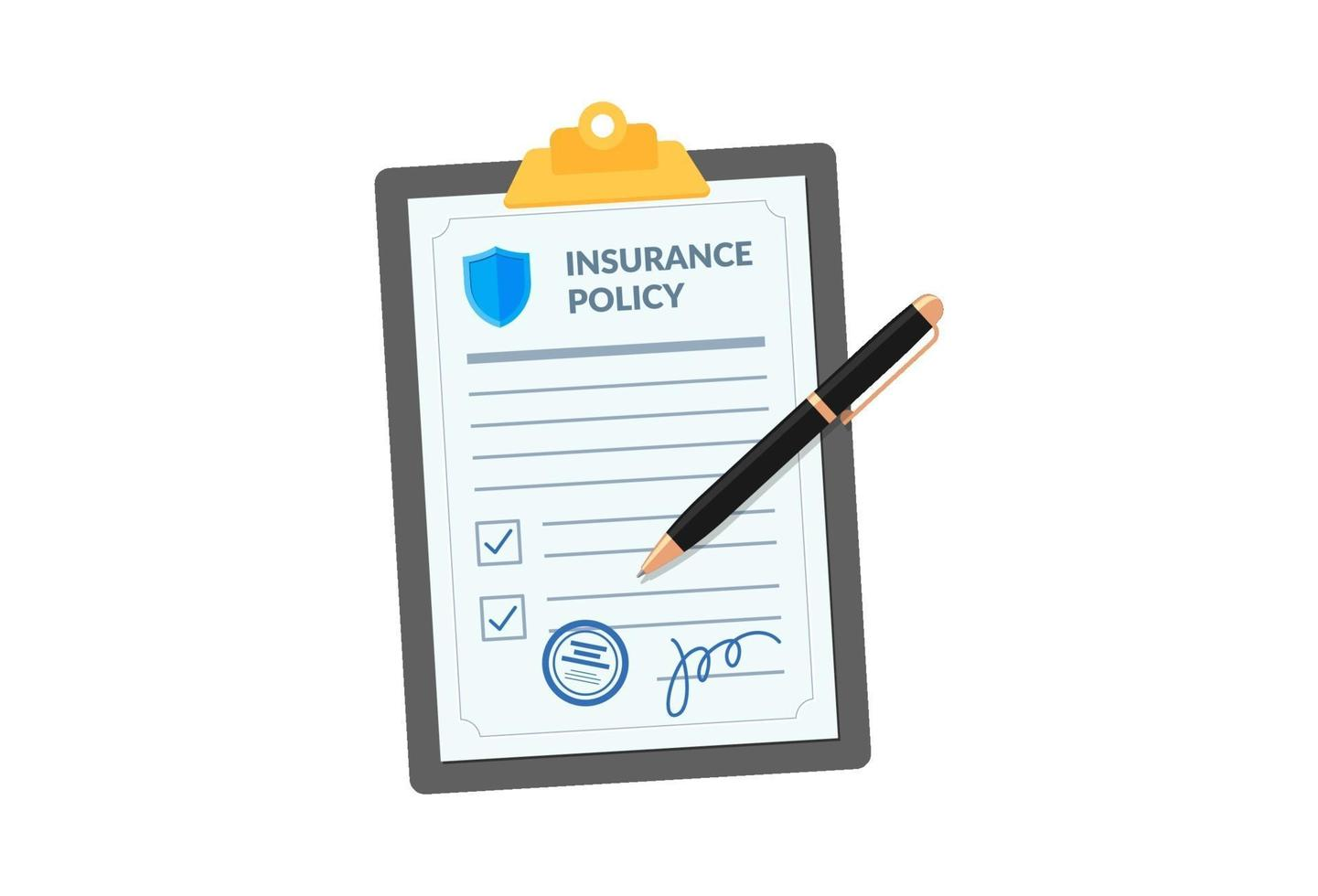 Insurance policy on clipboard with pen isolated on white background. Company agreement contract document check list with signature on board. Injury risk law legal preparedness vector illustration
