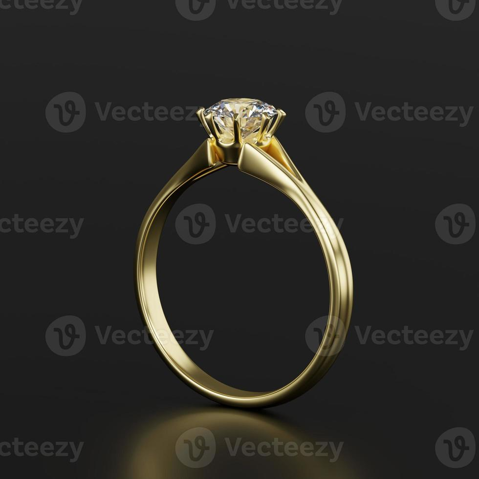 Gold diamond ring isolated on black background, 3d rendering photo