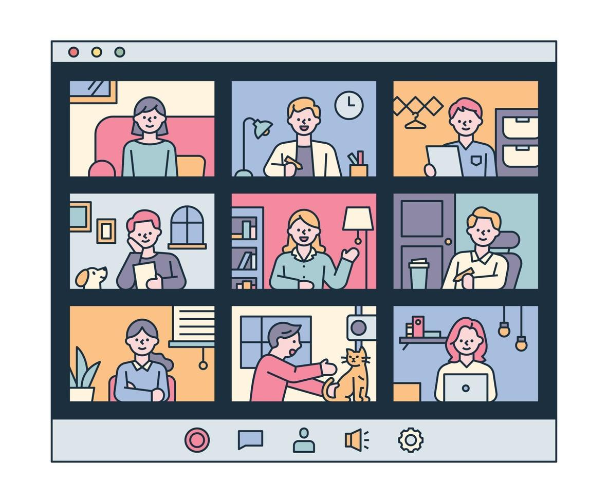 People having video meetings in their own homes. flat design style minimal vector illustration.