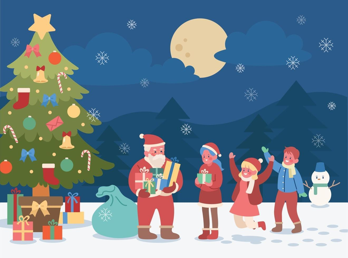 On a snowy day, under the big Christmas tree, Santa is handing out presents to the children. hand drawn style vector design illustrations.