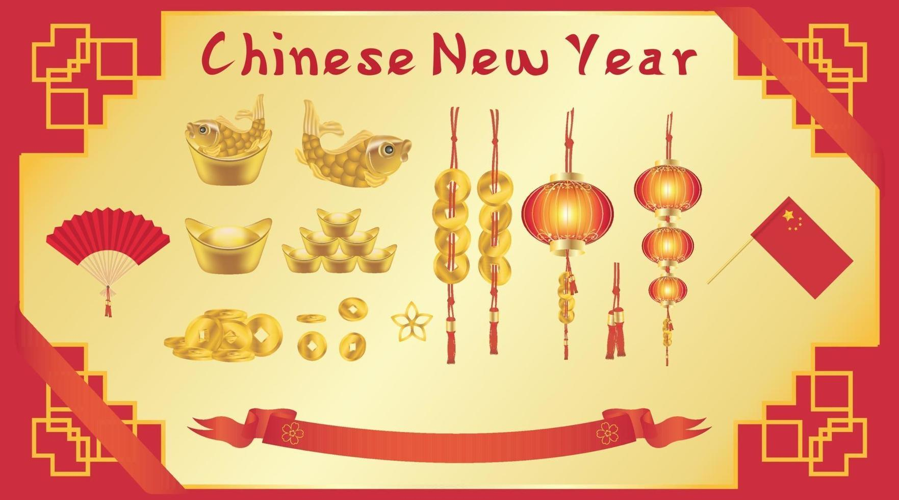 Chinese New Year card with chinese fan gold ingot coin lantern flag vector