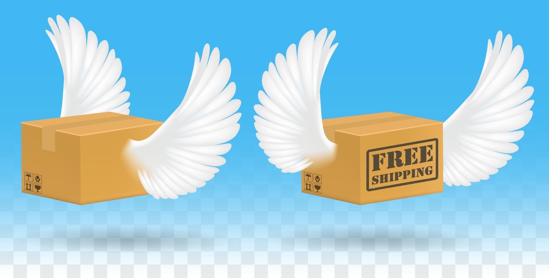 caja de cartón corrugado marrón con alas de pájaro vector