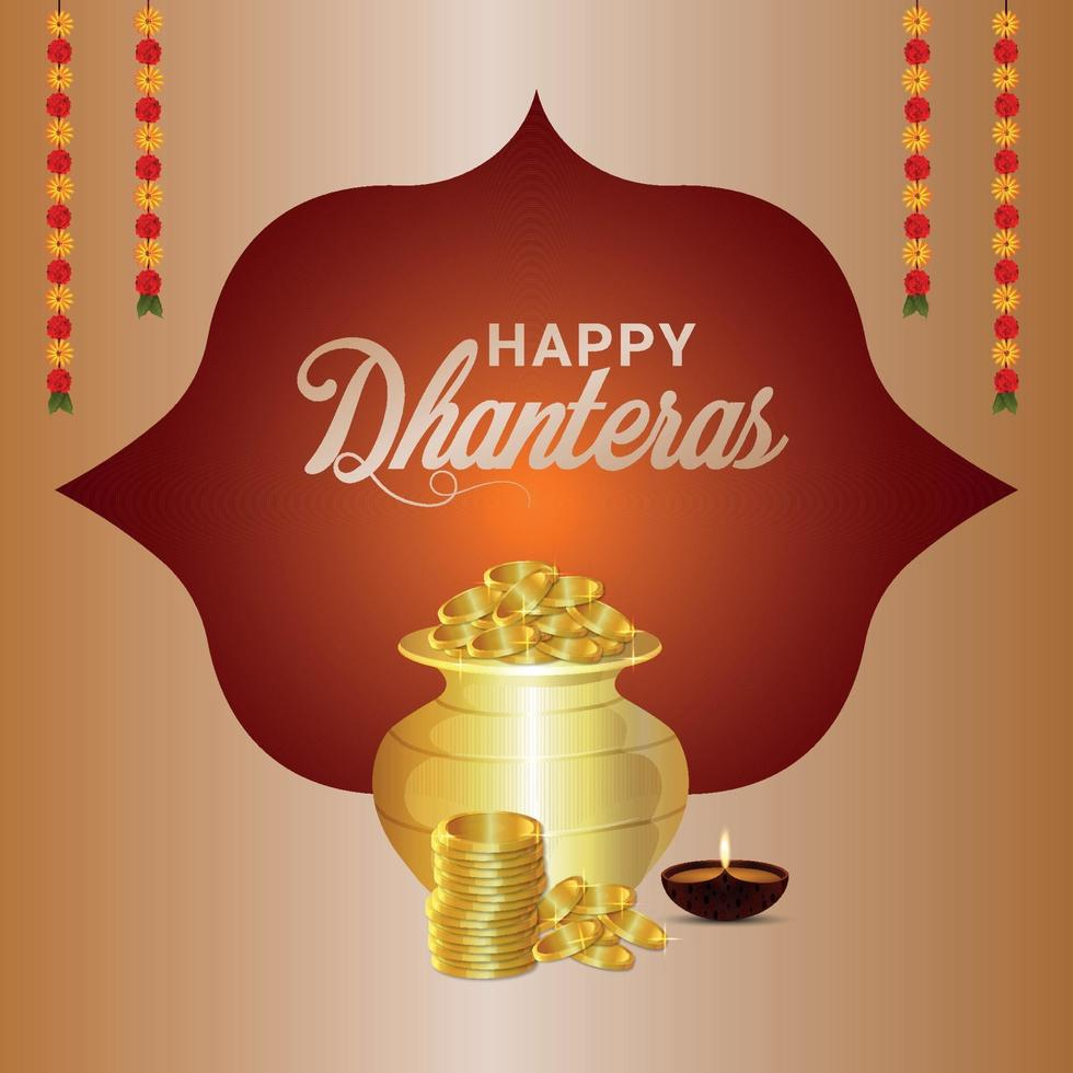 diseño de tarjeta de felicitación shubh dhanteras con maceta de monedas de oro con flor de loto vector