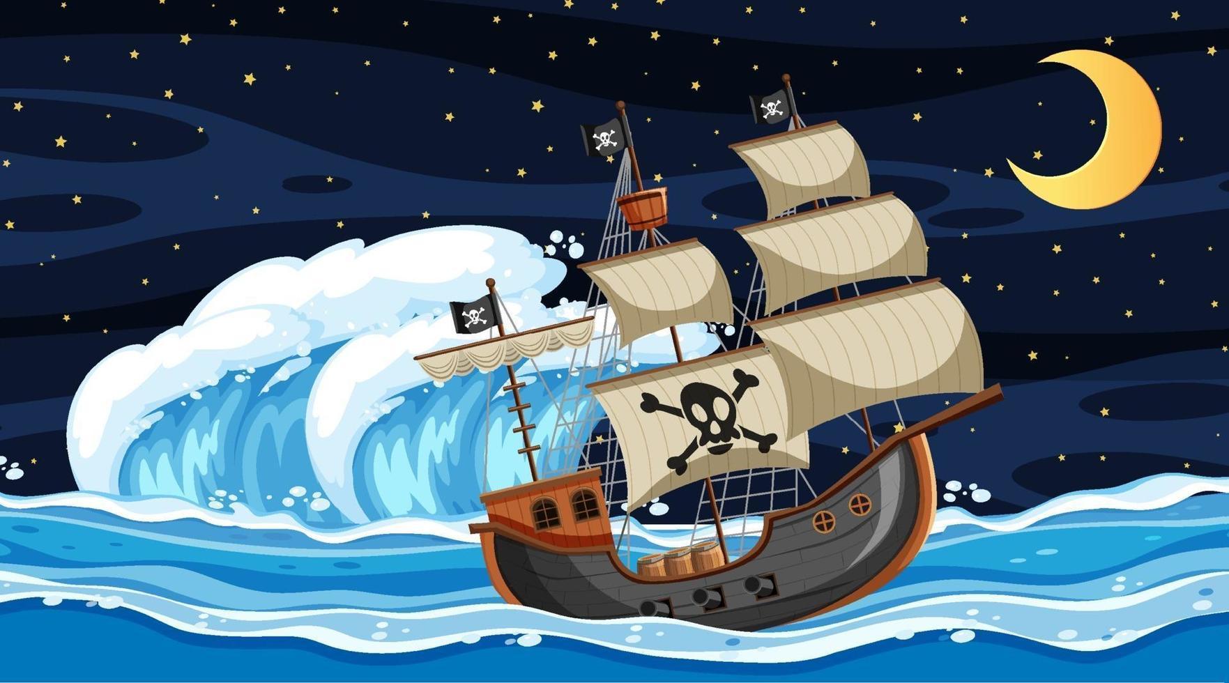 escena del océano en la noche con barco pirata en estilo de dibujos animados vector