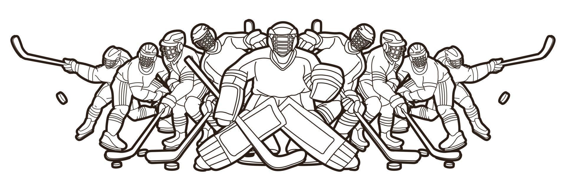 Ice Hockey Men Players Team Outline vector
