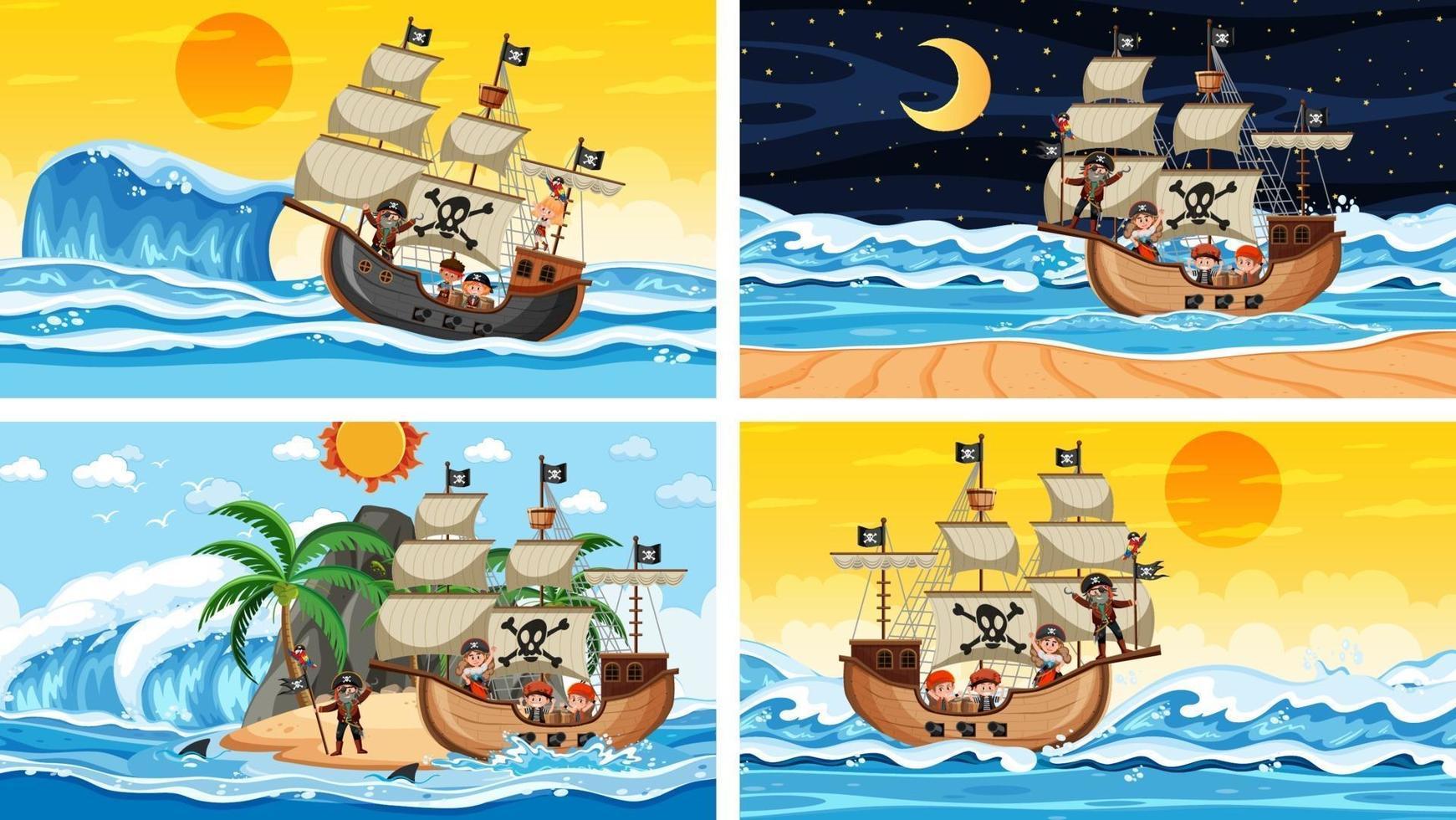 conjunto de diferentes escenas de playa con barco pirata y personaje de dibujos animados pirata vector