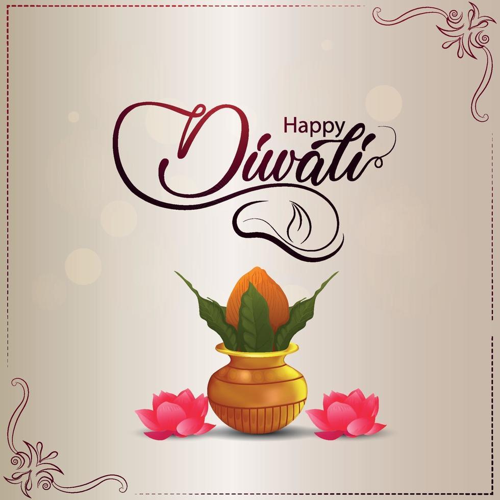 diseño de vector creativo de feliz diwali con kalash creativo y flor de loto