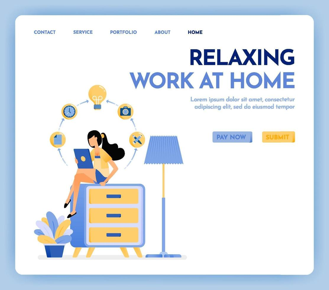 Illustration of work at home. Freelance woman working on tablet and sit at top of cupboard, dressed in cozy clothes to online study and education. Design concept for banner, landing page, poster, web vector