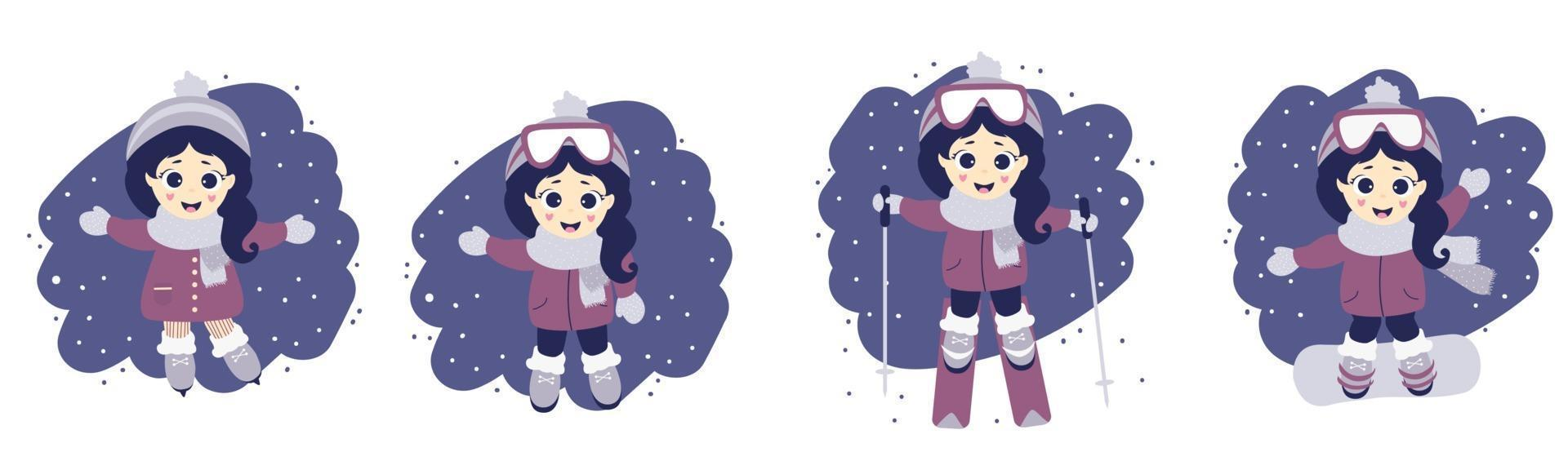 Set of girl and winter sport. Cute girl in skiing, ice skating and snowboarding on a blue background with snow. Vector illustration. Childrens collection for postcards, design and print. Flat design