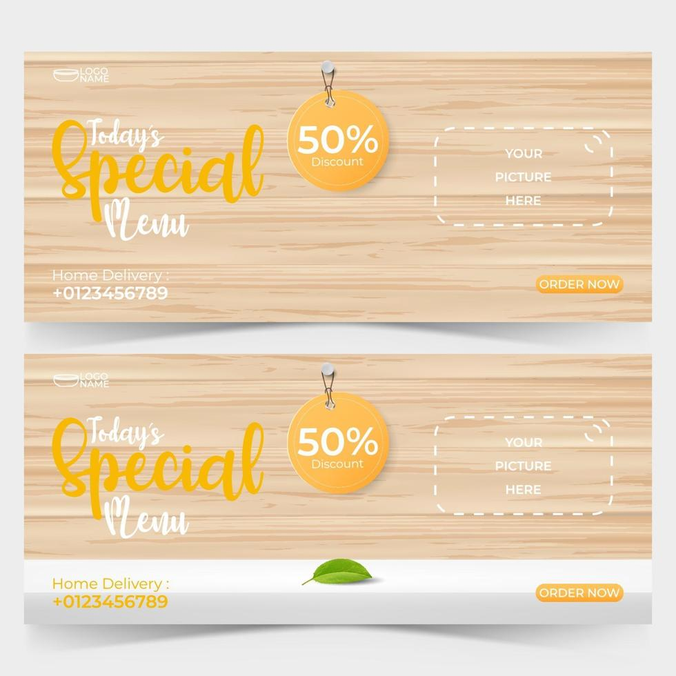 Food Ads Banner Template With Wooden Background, Food Or Restaurant Banner  Promotion Concept. 2291385 Vector Art At Vecteezy