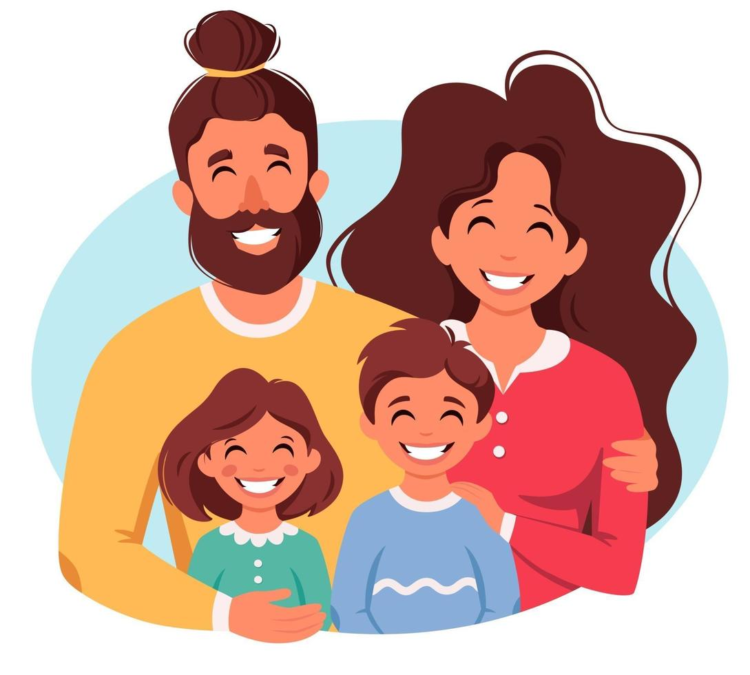 Happy family with son and daughter. Parents hugging children. Vector illustration